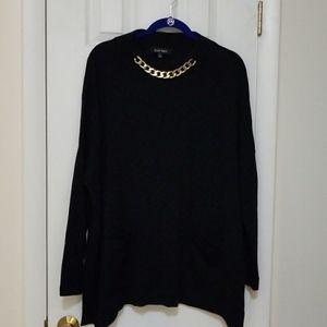 Ellen Tracy black oversized poncho sweater